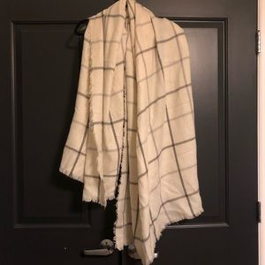 Cream and Gray Plaid Blanket Scarf